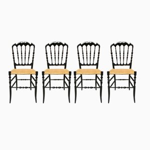 Vintage Black Lacquered Beech Chiavarine Chairs, 1970s, Set of 4