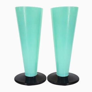 Art Deco Black & Green Opaline Glass Vases, 1920s, Set of 2