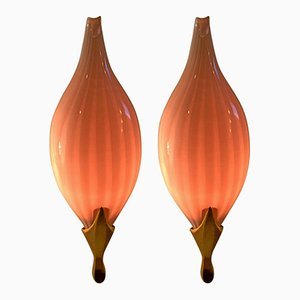 Italian Pink Wall Sconces from Venini, 1960s, Set of 2