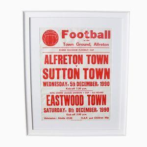Cartellone pubblicitario vintage di un incontro di football, anni '70