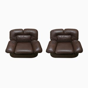 Vintage Leather Club Chairs, 1960s, Set of 2