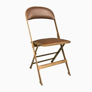 Vintage Folding Chair in Metal and Skai from Clarin