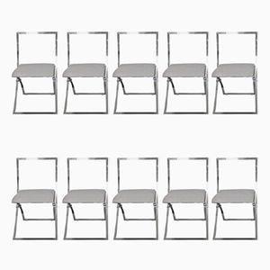 Chaises de Salon en Chrome par Marcello Cuneo pour Mobile, Italie, 1970s, Set de 10