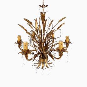 Lampadario in metallo dorato e vetro, Italia, anni '60