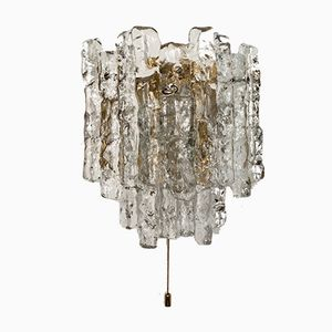 Gold Ice Glass Wall Lamp by J.T. Kalmar for Franken KG, 1960s