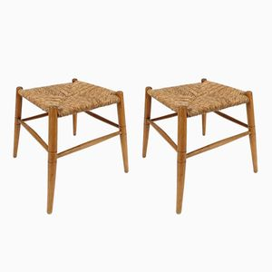Danish Wood and Cane Stools, 1960s, Set of 2