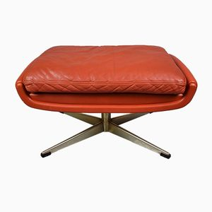 Red Leather Ottoman by Aage Christiansen for Erhardsen & Andersen, 1960s