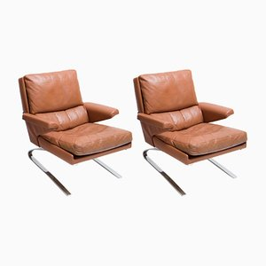 Leather Lounge Chairs by Reinhold Adolf & Hans Jürgen Schröpfer for Cor, 1960s, Set of 2