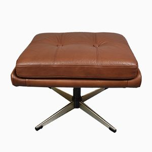 Danish Brown Leather Swivel Ottoman by Svend Skipper for Skippers Møbler, 1960s