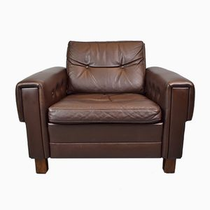 Vintage Danish Brown Leather Club Chair from Bramin, 1970s