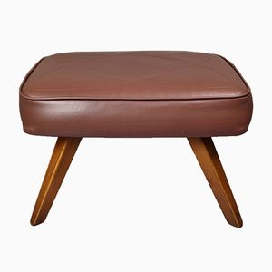 Danish Brown Faux Leather Ottoman, 1970s