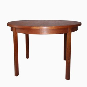 Vintage Scandinavian Teak Round Table with Extension Leaves, 1960s