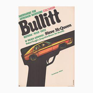 Poster vintage del film Bullitt di Marian Stachurski per CWF, Polonia, 1968