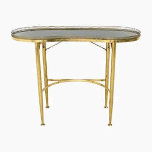 Italian Brass Console Table with Black Glass Top, 1950s