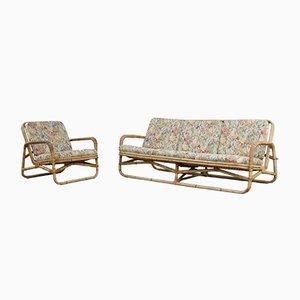 Vintage Bamboo Sofa and Chair Set