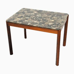 Danish Rosewood Pebbles in Resin Side Table, 1970s