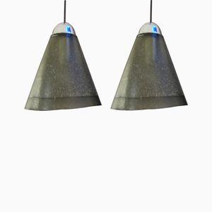 Lampade a sospensione in vetro di Peill & Putzler, Paesi Bassi, anni '70, set di 2