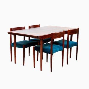 Set di un tavolo da pranzo allungabile e 6 sedie in palissandro, anni '60