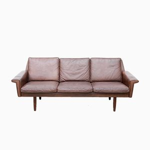 Danish Brown Leather Sofa from Vejle Mobelfabrik, 1960s
