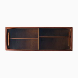 Mid-Century Modern Wall Shelf with Sliding Glass Doors from Dyrlund, 1960s