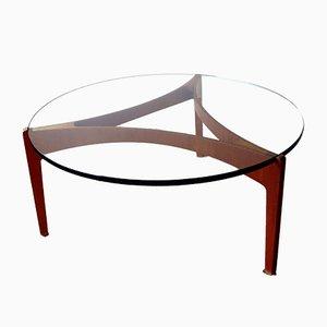 Table Basse en Teck avec Plateau en Verre Epais par Sven Ellekaer pour Christian Linneberg, Danemark, 1960s