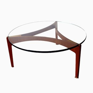 Tavolino da caffè in teak con ripiano in vetro di Sven Ellekaer per Christian Linneberg, Danimarca, anni '60