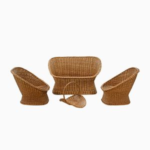 Two Rattan Lounge Chairs & Matching Love Seat from Gebroeders Jonkers