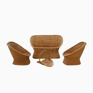 Zwei Sessels aus Rattan mit Passendem Zweiersofa von Gebroeders Jonkers