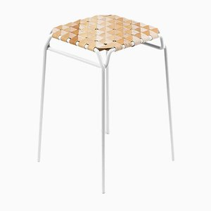 Short White Taburet Bar Stool by Anastasiya Koshcheeva for Moya