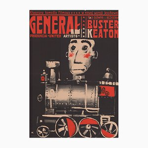 Affiche du Film The General Vintage par Waldemar Swierzy pour CWF, Pologne, 1964