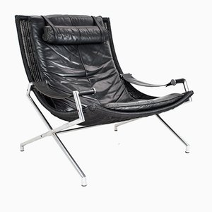 Industrial Faux Wicker & Black Leather Lounge Chair by Gerard Van Den Berg for Rohe Noordwolde