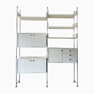 Modular Shelf System Room Divider in White Wood & Steel, 1970s