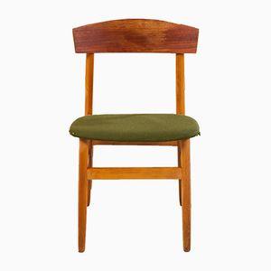 Chaise de Salon en Teck avec Tapisserie en Tissu Vert, 1960s