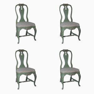 Swedish Gustavian Style Painted Chairs, Set of 4