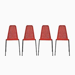 Gewebte Italienische Mid-Century Stühle für den Garten, 4er Set