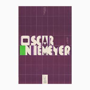 Poster vintage della mostra di Oscar Niemeyer di Tadeusz Grabowski per WAG, Polonia, 1973