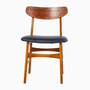 Mid-Century Dark Blue Leather Teak Dining Chair