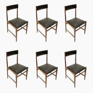 Black Skai Dining Chairs, 1960s, Set of 6