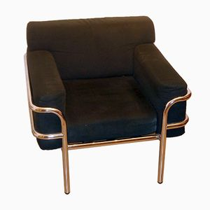 Black Upholstered Chair with Chrome Frame, 1970s