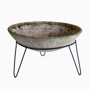 Vintage Concrete Planter with Hairpin Legs