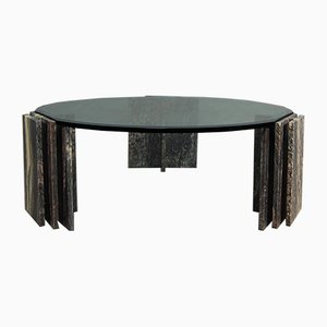 Vintage Italian Marble and Glass Coffee Table