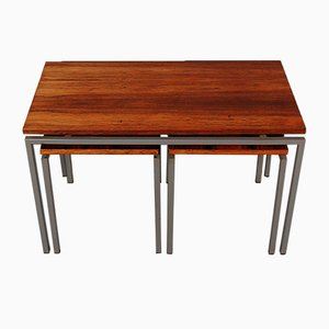 Dutch Rosewood Nesting Table Set, 1950s