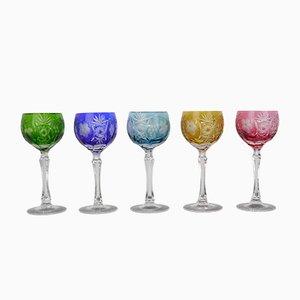 Deutsche Vintage Weingläser aus Farbigem Kristallglas von Nachtmann, 5er Set