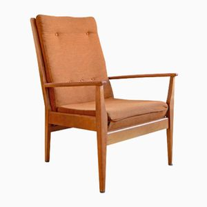 Mid-Century Beech & Wool Lounge Chair, 1960s