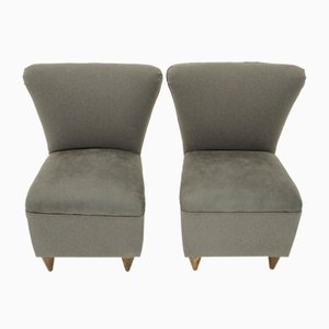 Italian Grey Easy Chairs, 1950s, Set of 2