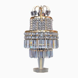 Vintage Tischlampe aus Kristallglas von Gablonz