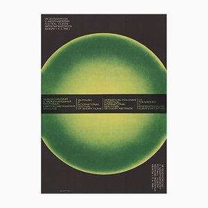 Poster vintage dello Short Film Festival verde di Mieczysław Górkowski, Polonia, 1968