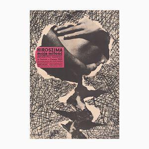 Poster vintage del film Hiroshima Mon Amour di Stanisław Zagórski per CWF, Polonia, 1959