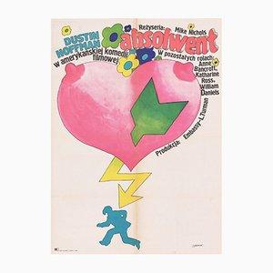 Poster vintage del film Il laureato di Maciej Żbikowski per CWF, Polonia, 1973