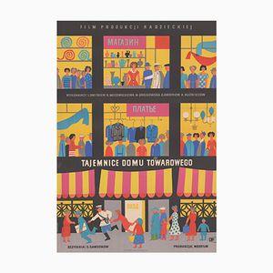Poster vintage del film Behind Shop Windows di Marian Stachurski per CWF, Polonia, 1957